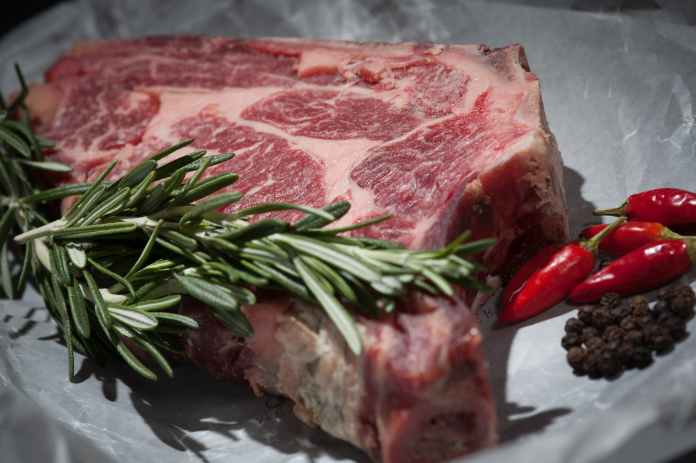 steak meat raw herbs