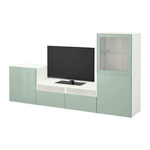 Bestå Meuble Tv Combiné Porte En Verre Blanc Selsviken Haut Brillant Gris Clair Vert Verre Transparent Guides De Tiroirs Pousser