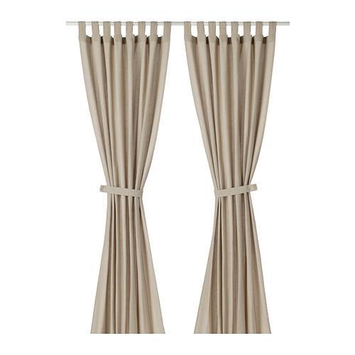 lenda rideaux avec poignee paire 1 beige clair