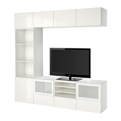 Bestå Meuble Tv Combiné Porte En Verre Blanc Selsviken Brillant Verre Dépoli Blanc Boîte Rails Poussée