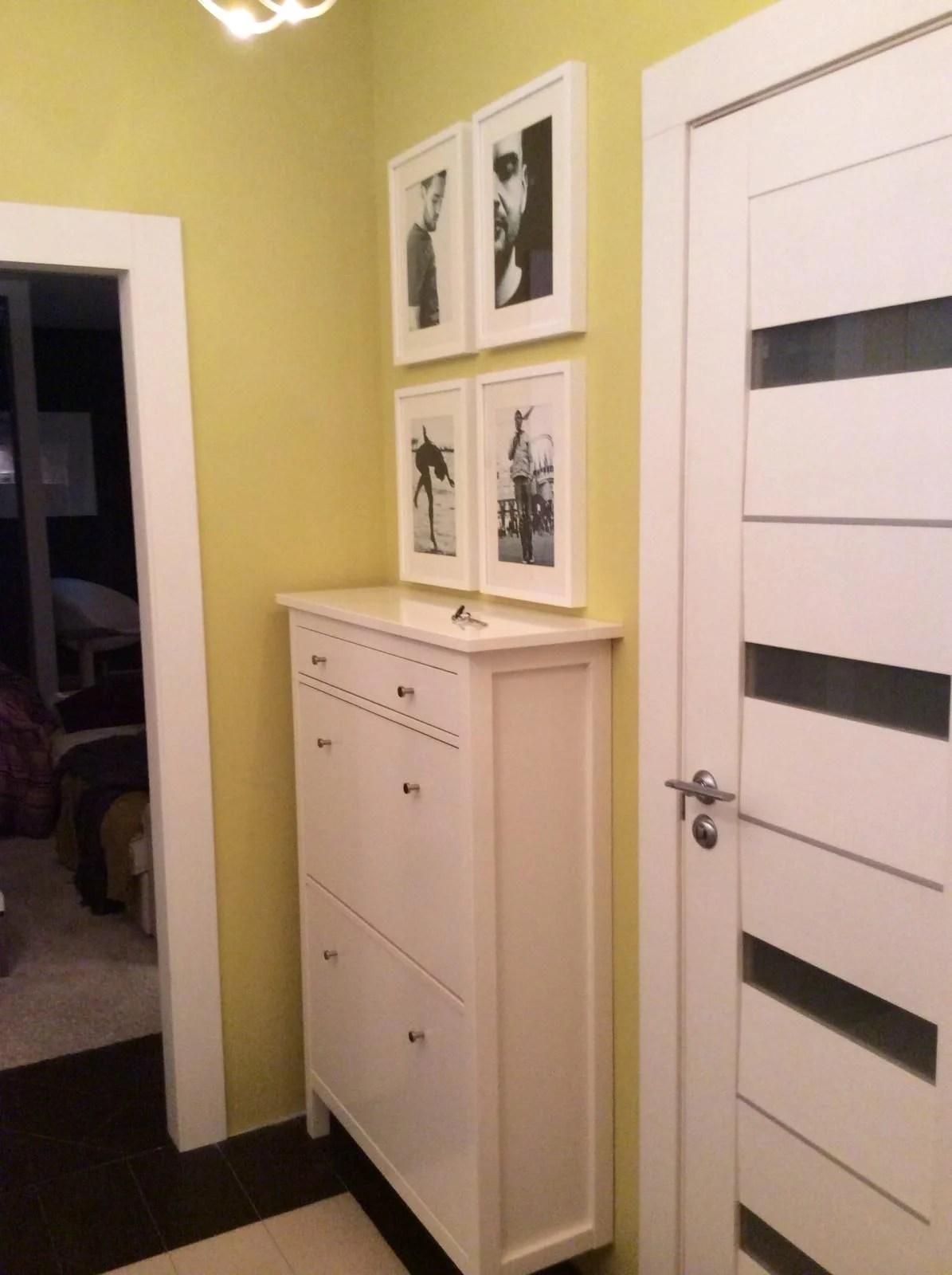 White HEMNES Shoe Cabinet In The Hallway Olive