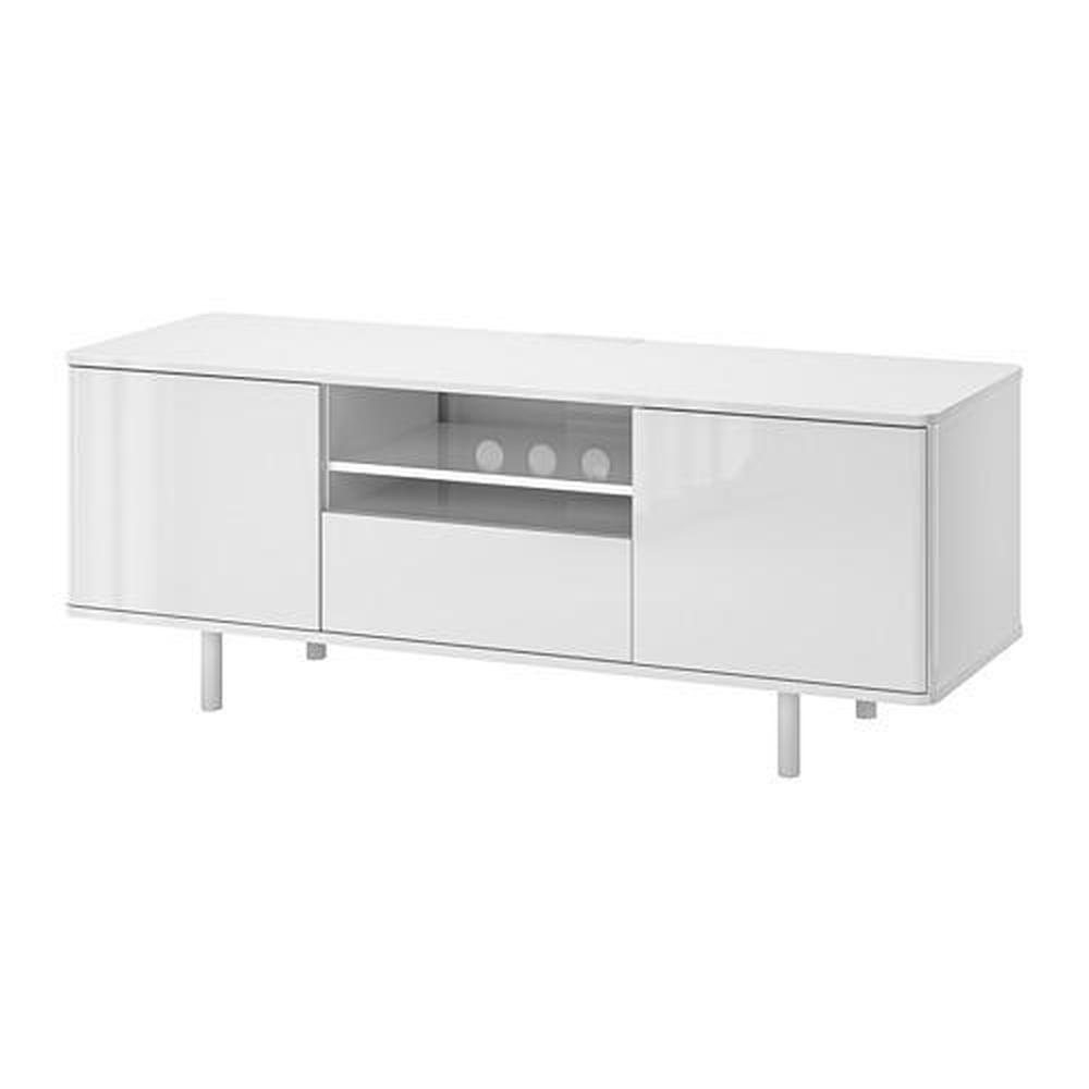 mostorp tv stand glossy white