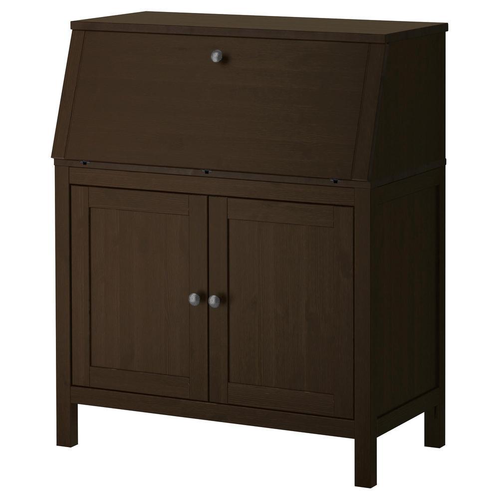 hemnes bureau black and brown 89x107 cm
