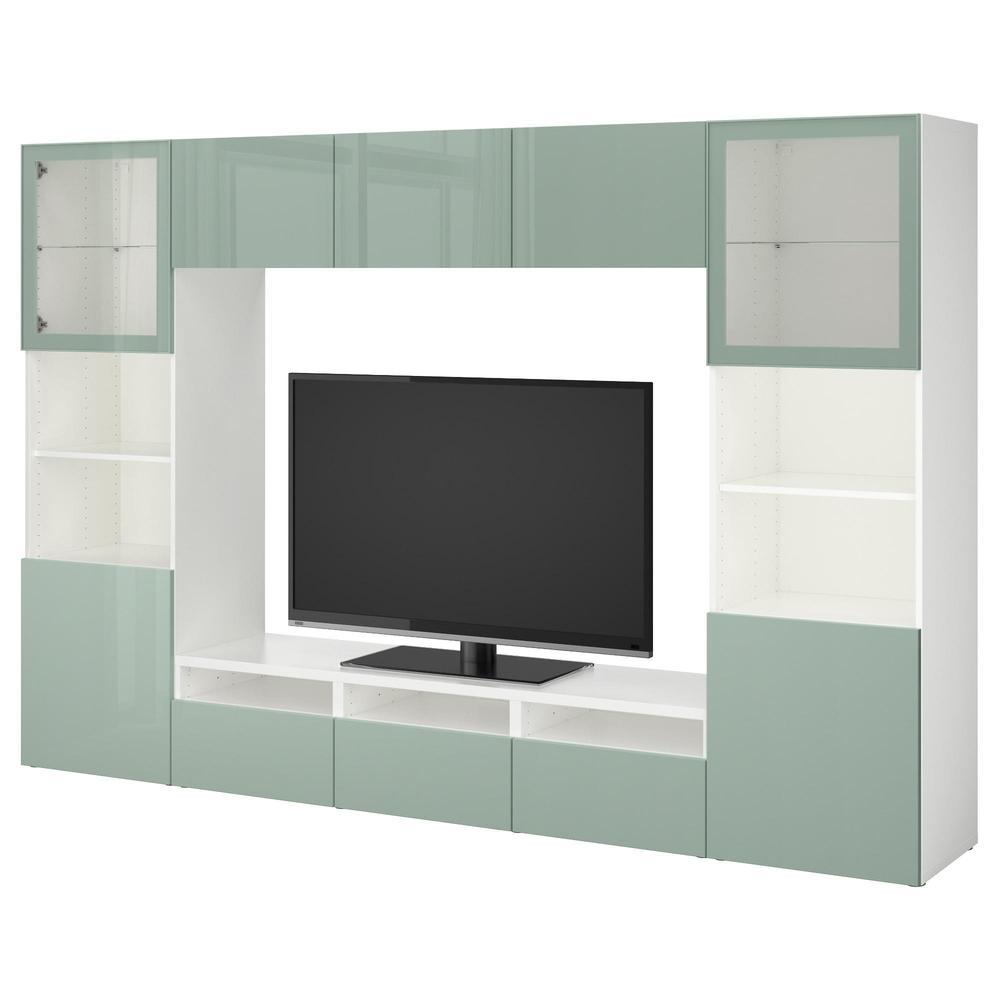 besta meuble tv combine porte en verre blanc selsviken haut brillant gris clair vert verre transparent guides de tiroirs doucement fermer