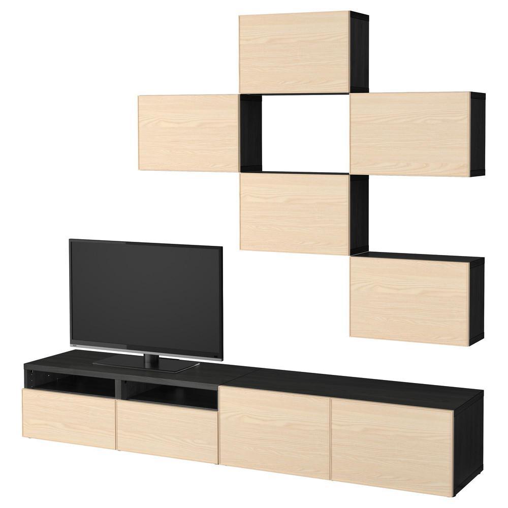besta combinaison meuble tv placage frene noir brun inviken guides de tiroir doucement fermer