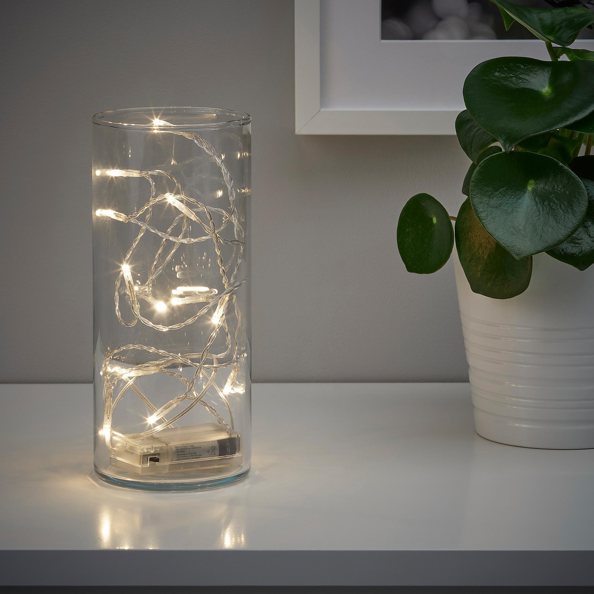 LEDFYR - LED裝飾燈串/12個燈泡, 室內/電池式 銀色 | IKEA 臺灣