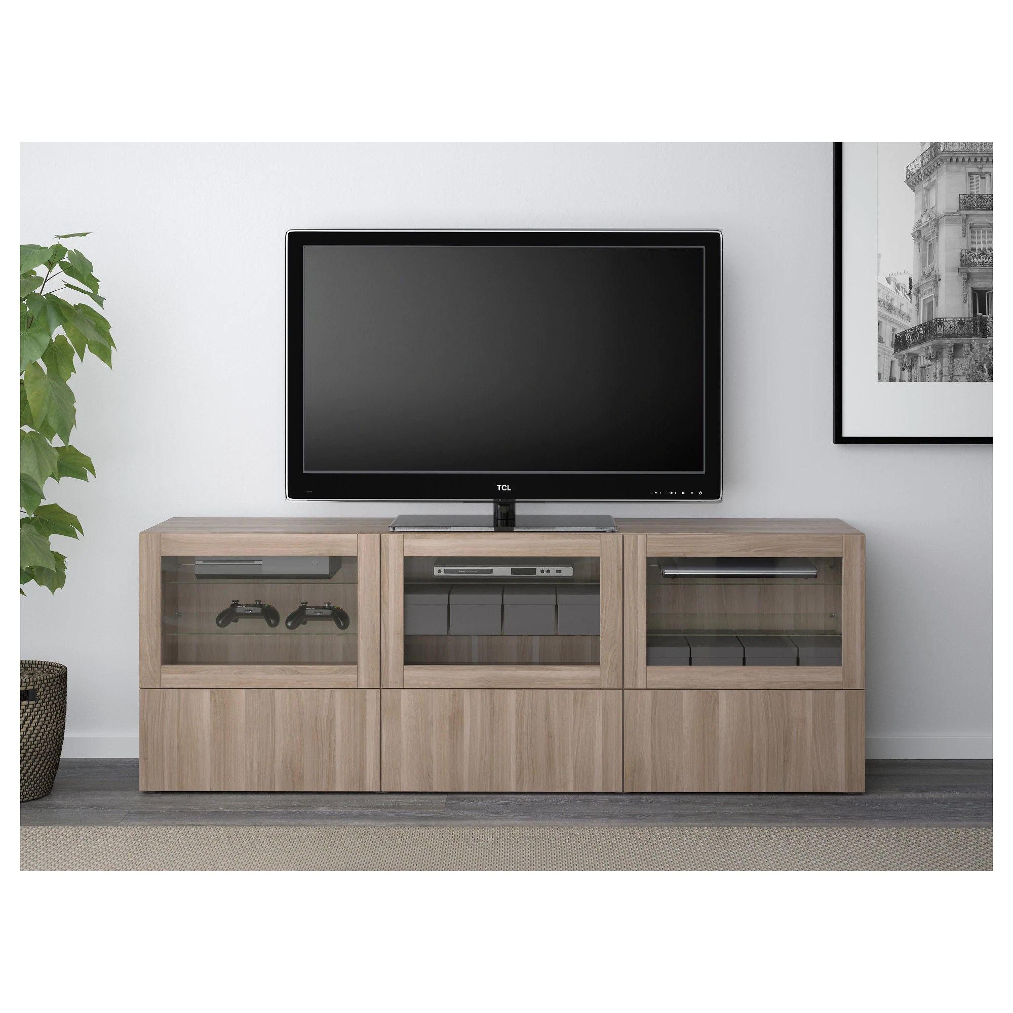 Tv Unit With Doors And Drawers Bestå Lappviken Sindvik Gray Stained Walnut Eff Clear Glass