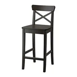 kitchen stools ikea retro chalkboards for ingolf bar stool with backrest brown black