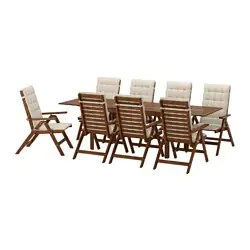 outdoor table and chairs wood wedding chair cover hire scarborough dining furniture sets ikea applaro 8 reclining