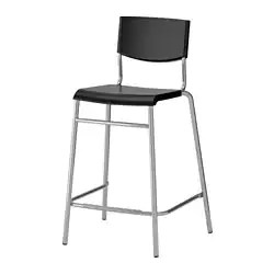 bar stool chairs ergo for office stig with backrest 24 3 4 ikea black silver color
