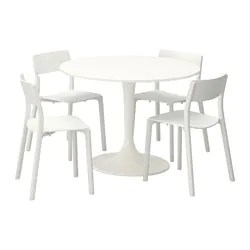 white table chairs heavy duty beach chair dining sets with 4 ikea docksta janinge and