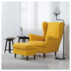 Ikea Chair With Ottoman Dallas Cowboys Office Strandmon Wing Skiftebo Yellow