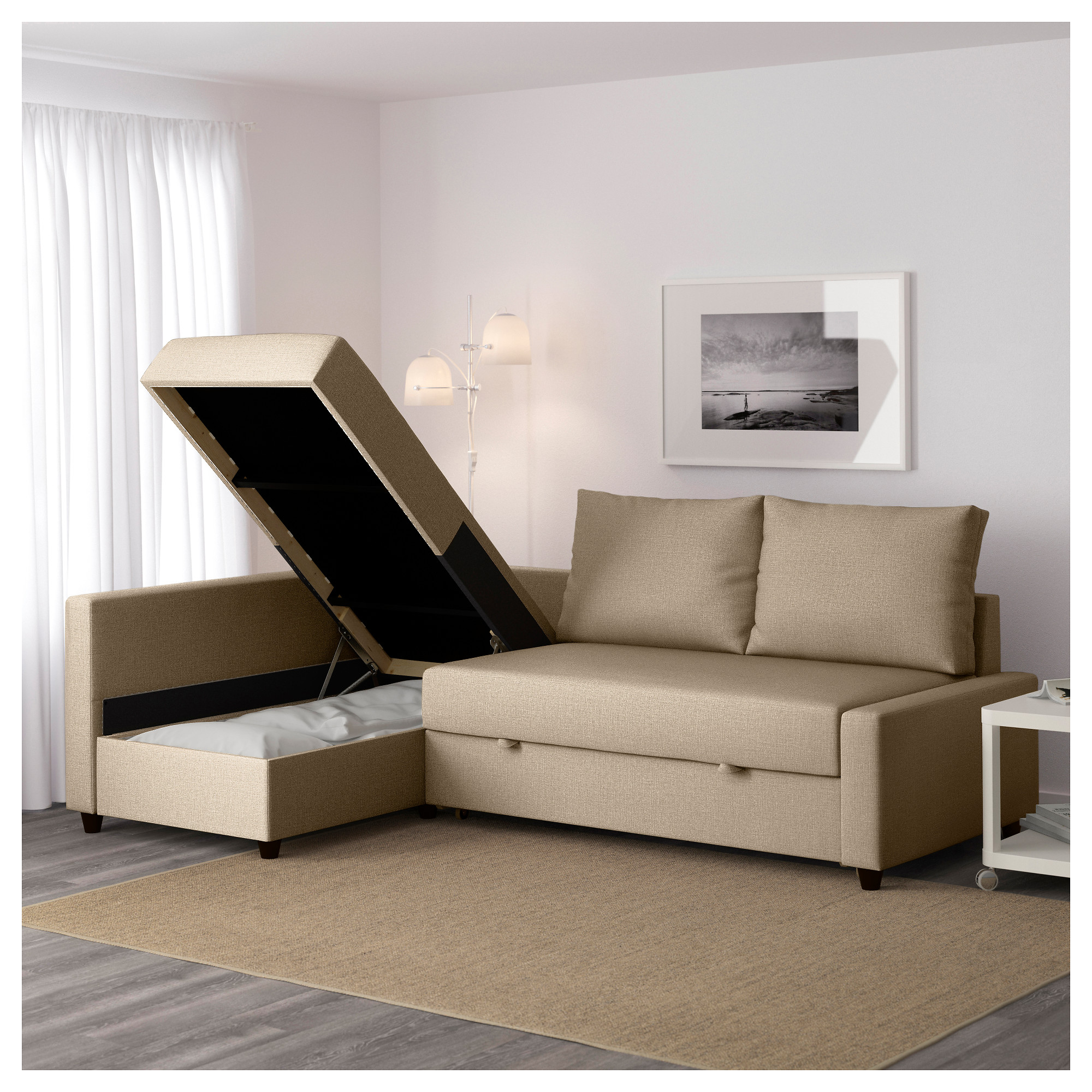 gray sofa with chaise lounge leather sectional recliners friheten sleeper 3 seat w storage skiftebo dark ikea