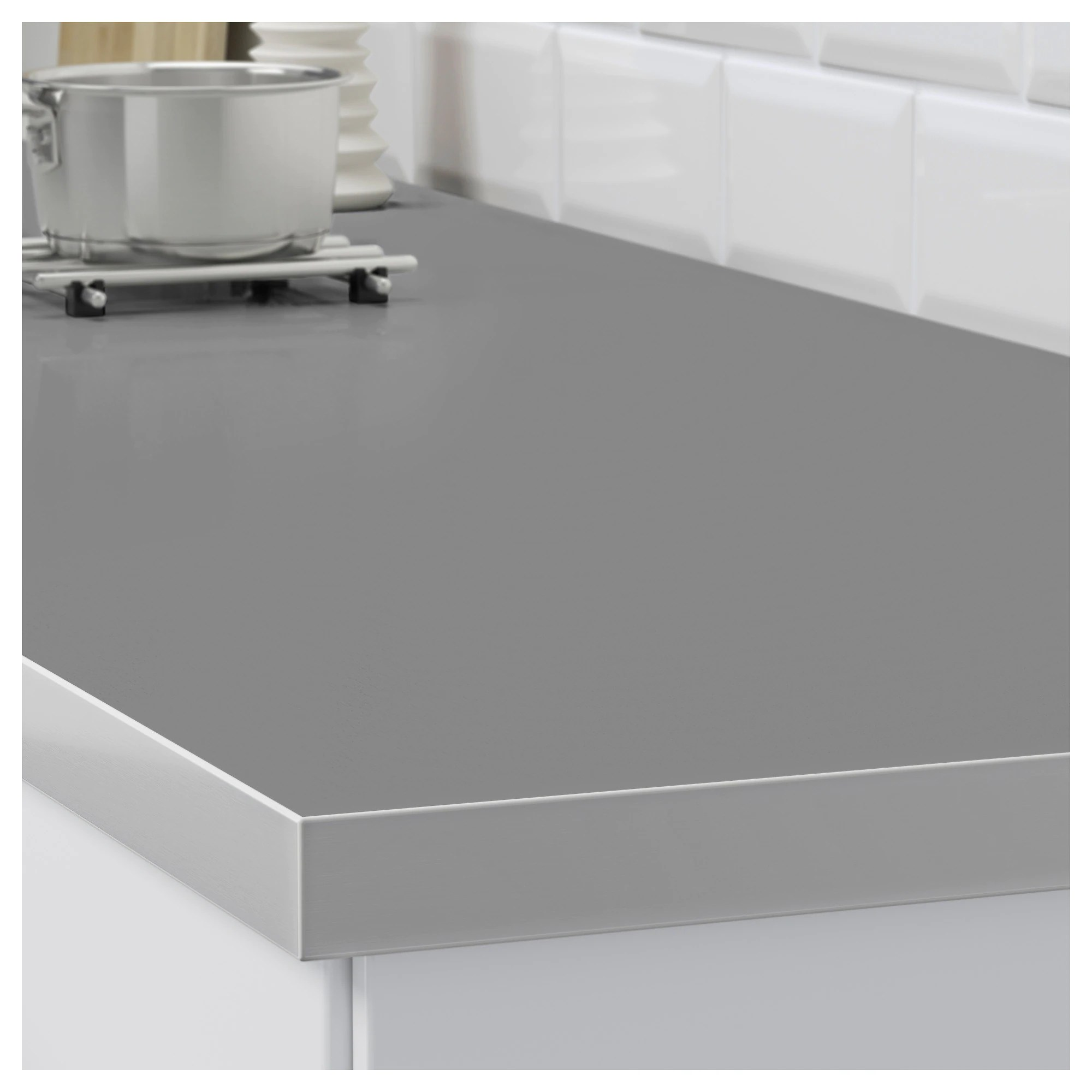 Countertop Double Sided Hällestad White Aluminum Effect Aluminum Effect Metal Effect Edge Laminate With Metal Effect Edge
