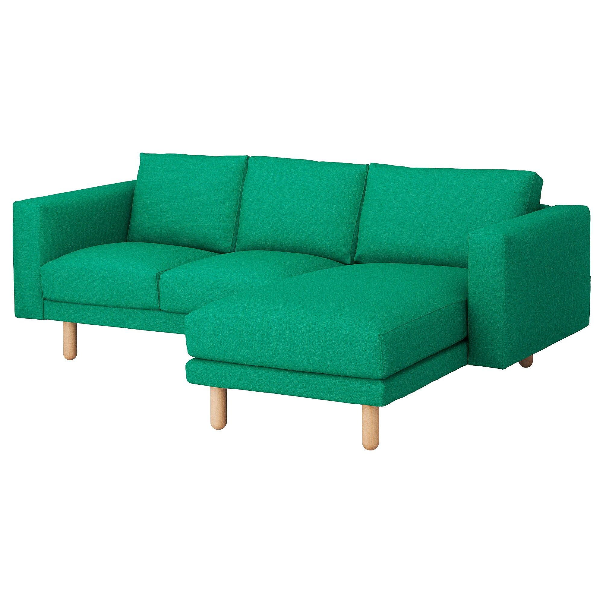 bright sofa red reclining microfiber norsborg 3 seat with chaise longue edum green birch