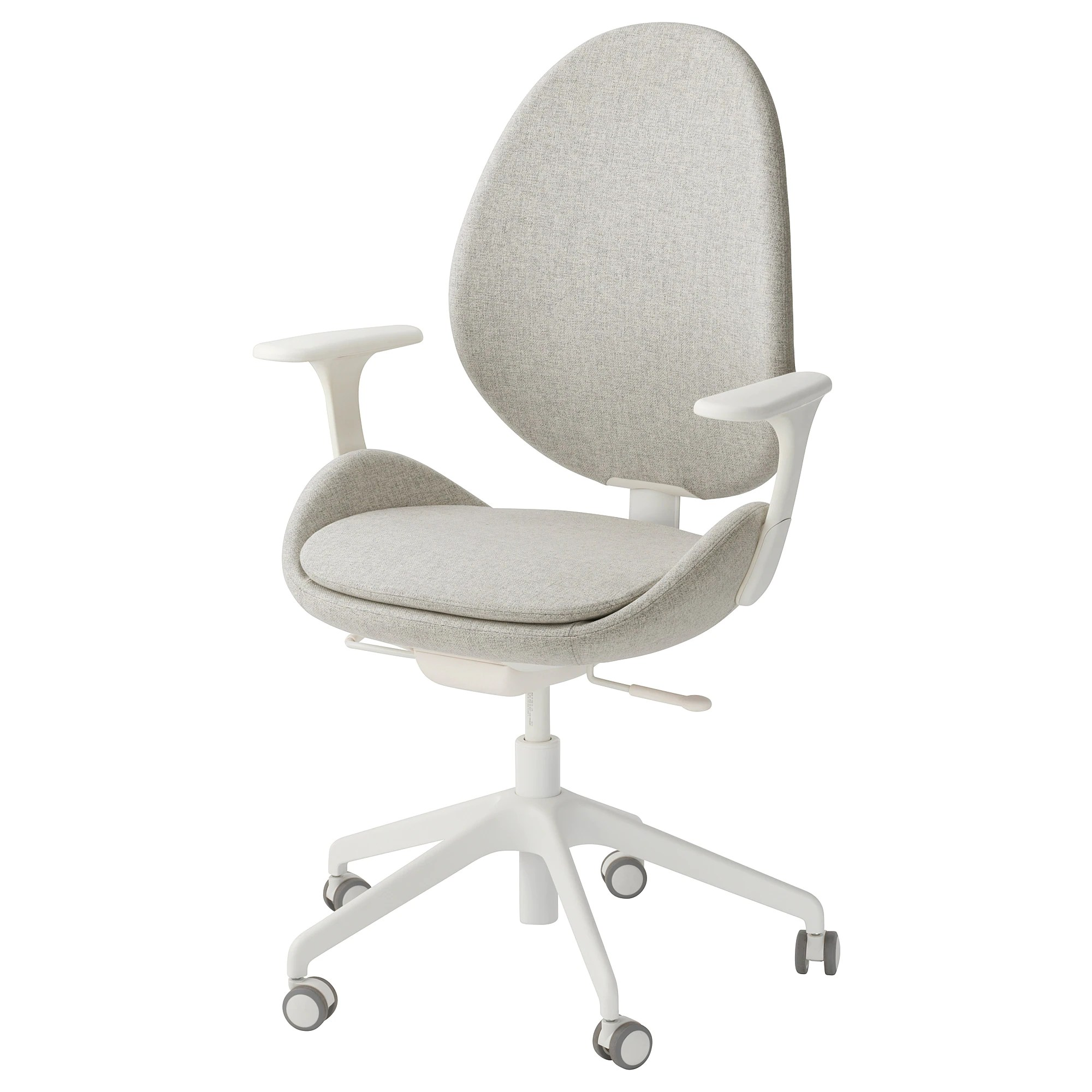 white ikea office chair chairs on sale hattefjall swivel with armrests gunnared beige