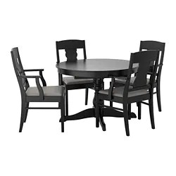 black table and chairs tall directors chair with side dining room sets ikea ingatorp 4