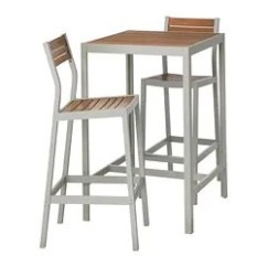 Outdoor Bar Table And Chairs Chair Kitchen Design Dining Furniture Sets Ikea Sjalland 2 Stools Light Brown Gray