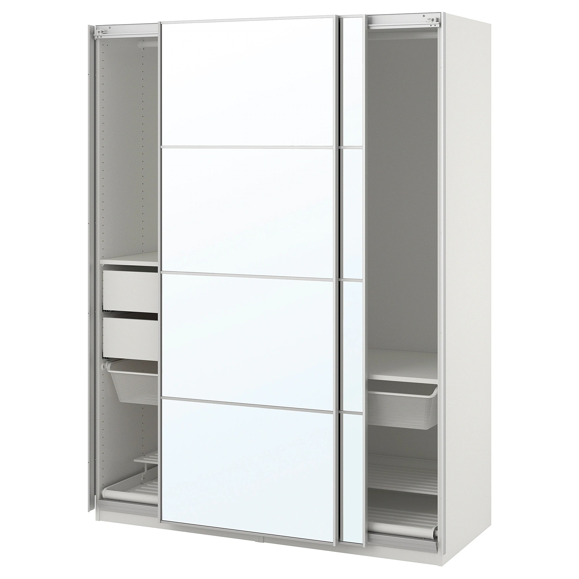 Wardrobe Pax White Auli Mirror Glass