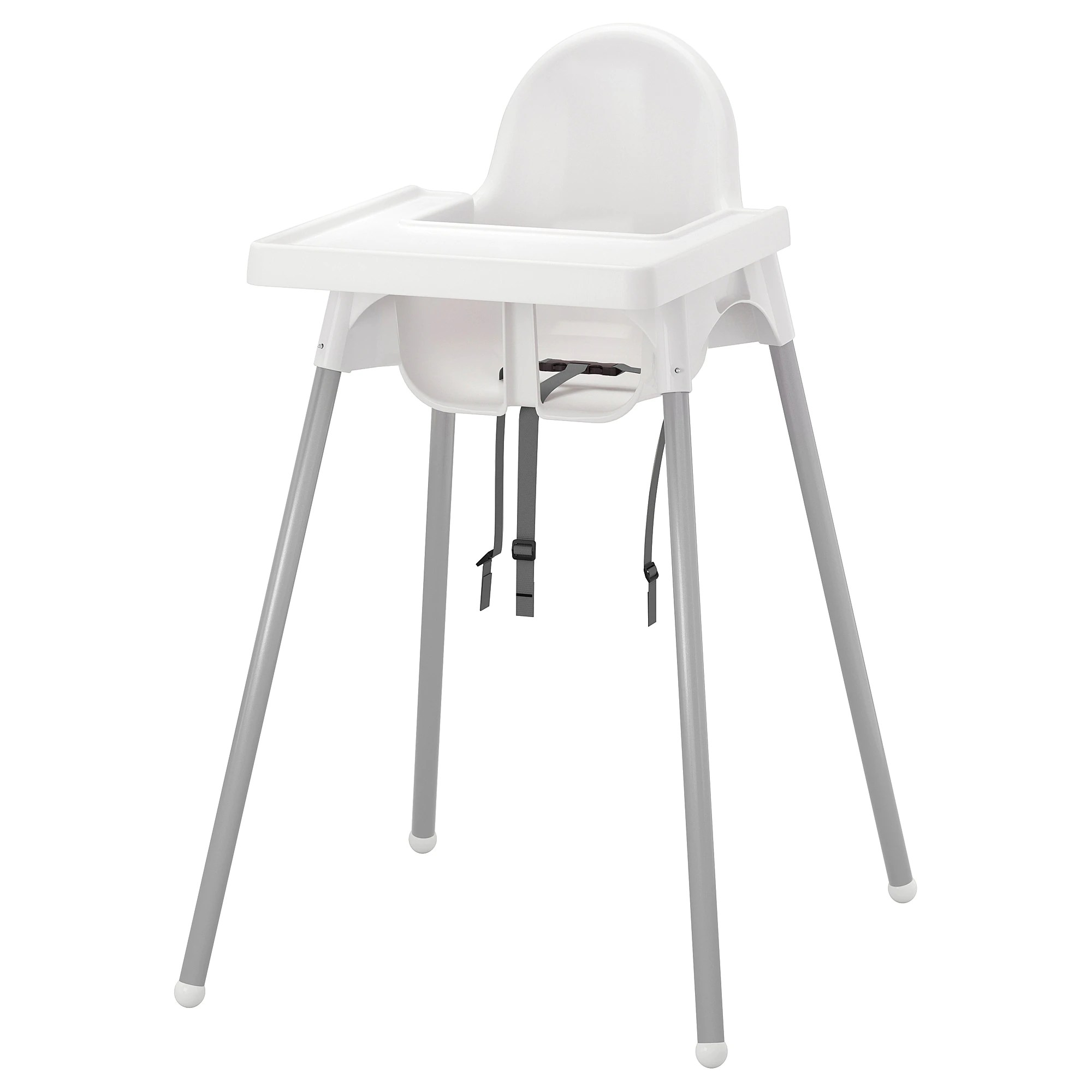 Highchair With Tray Antilop Silver Colour White Silver Colour