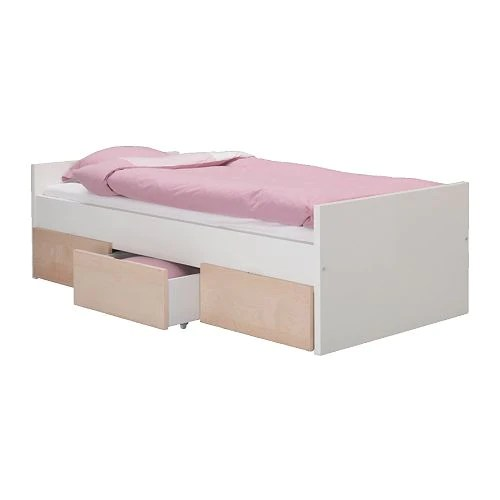 BREKKE Bed frame with storage boxes