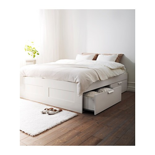BRIMNES Bed frame with storage IKEA The 4 large drawers give you an extra storage space under the bed.