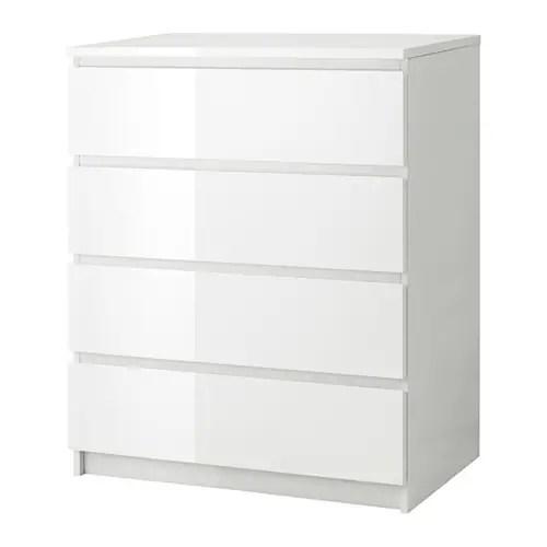 MALM Kommode Mit 4 Schubladen WeiHochglanz IKEA