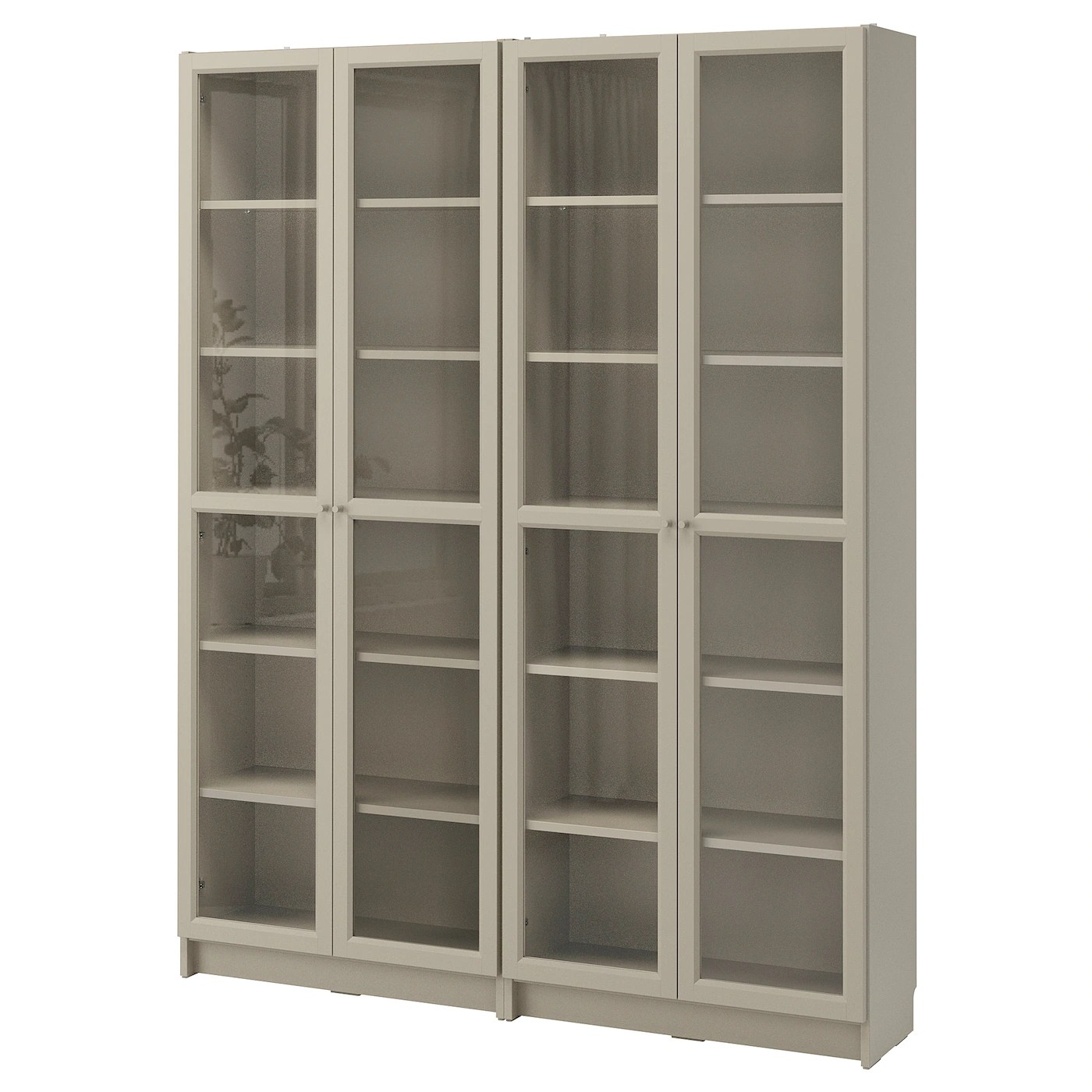 Billy Oxberg Bookcase Combination Glass Doors White Stained Oak Veneer Glass