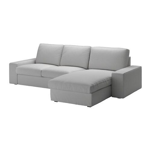 chez long sofa bed luxury recliner kivik 3 seat with chaise longue orrsta light grey ikea