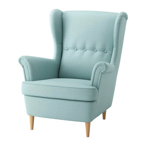 grey leather recliner chair uk steel in bangalore strandmon wing - skiftebo light turquoise ikea