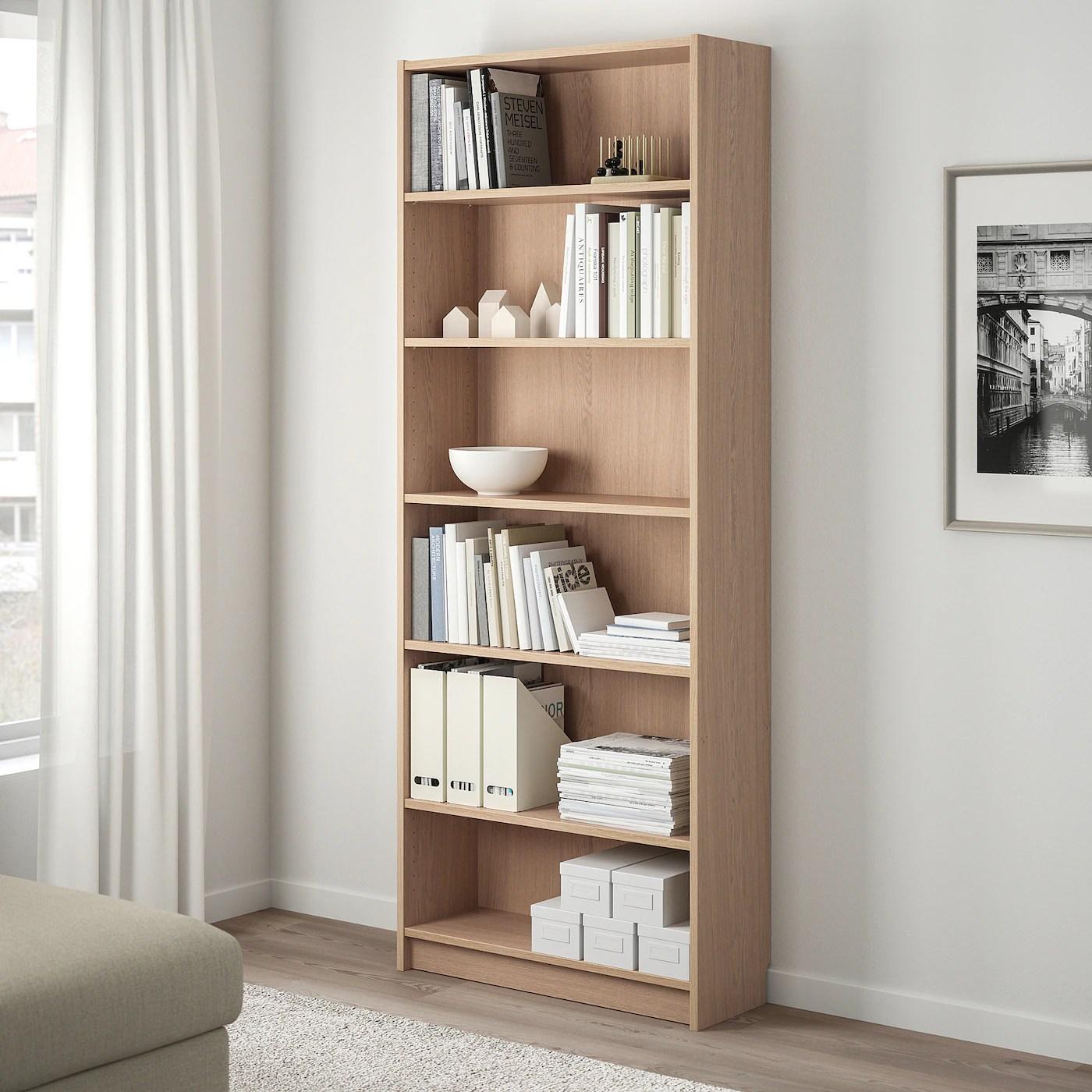 billy bibliotheque plaque chene blanchi 80x40x202 cm