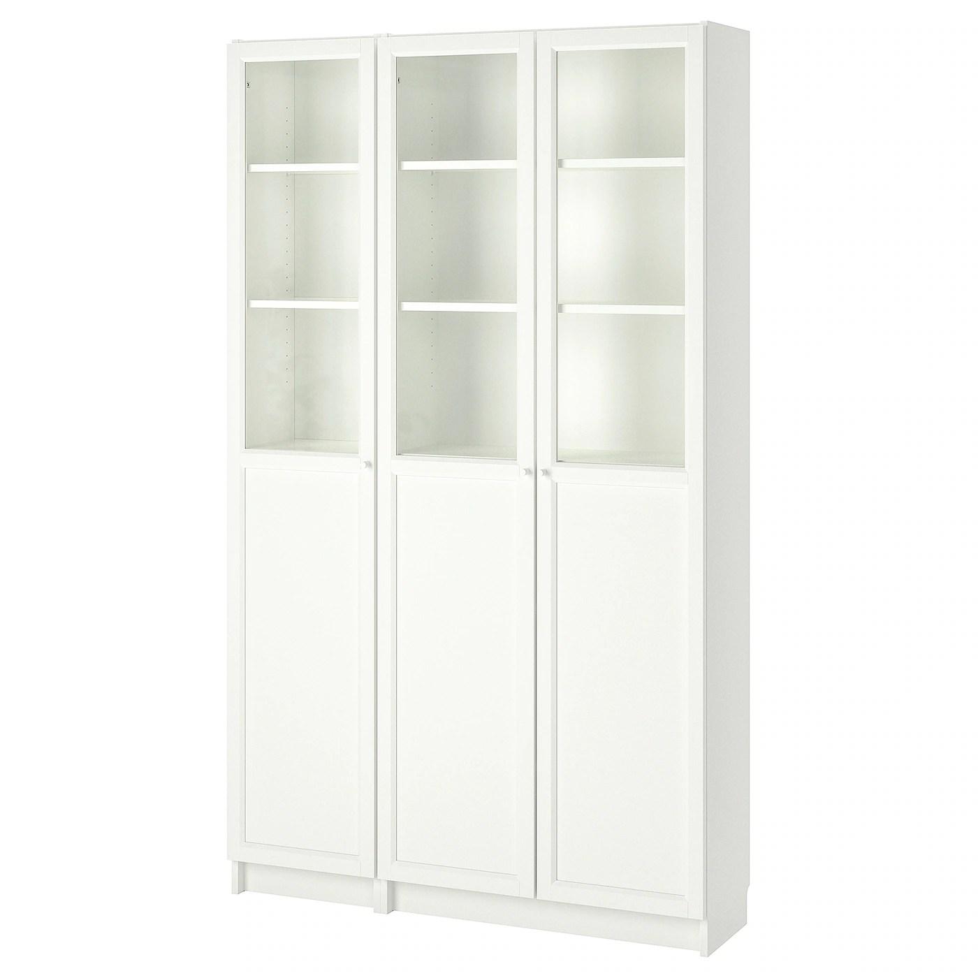 billy oxberg bibliotheque avec panneau vitrines blanc verre 120x30x202 cm