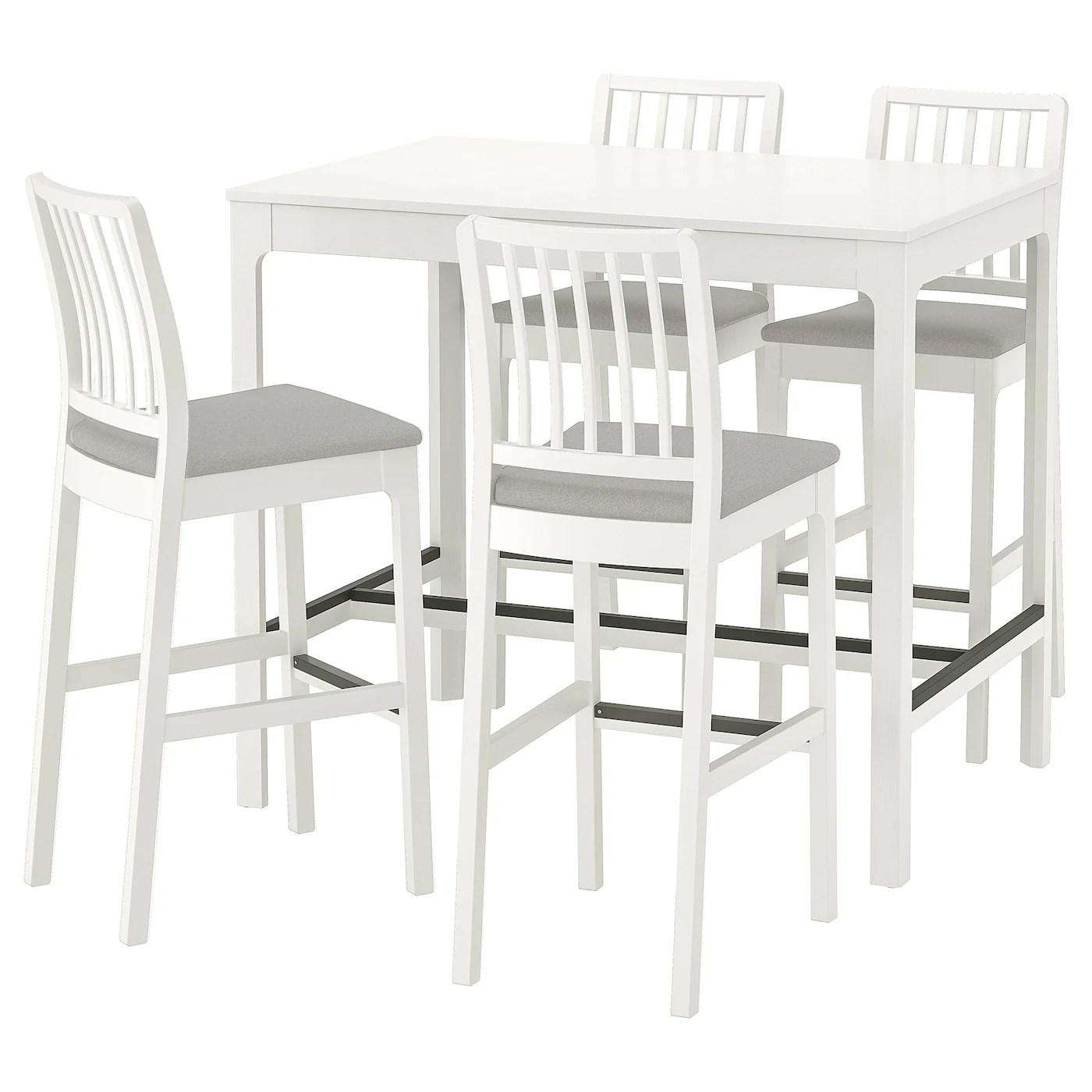 ekedalen ekedalen table de bar 4 tabourets blanc orrsta gris clair 120 cm