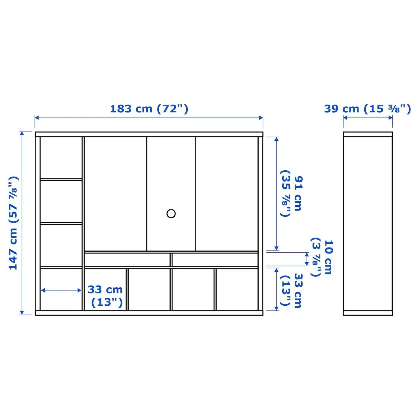 lappland meuble tv blanc 183x39x147 cm