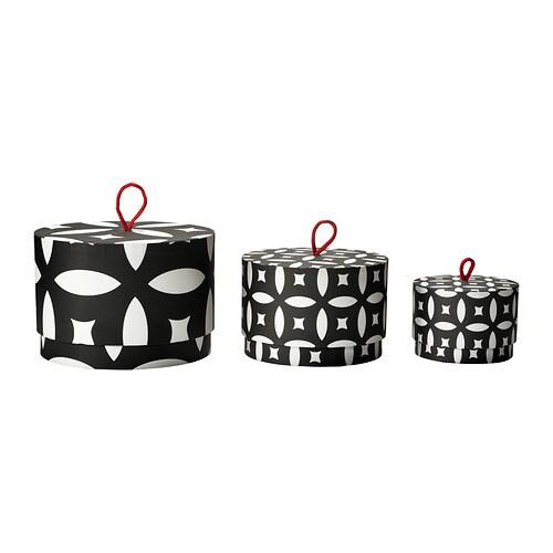 TRENDIG 2013 Doos met deksel, set van 3 IKEA Voor het overzichtelijk opbergen van kettingen en sieraden tot make-up en haarspeldjes.