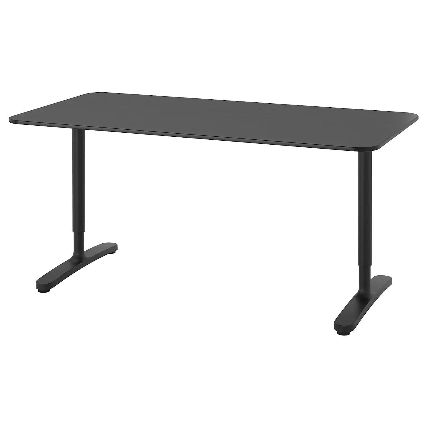 bekant desk black stained ash veneer black 63x31 1 2 160x80 cm