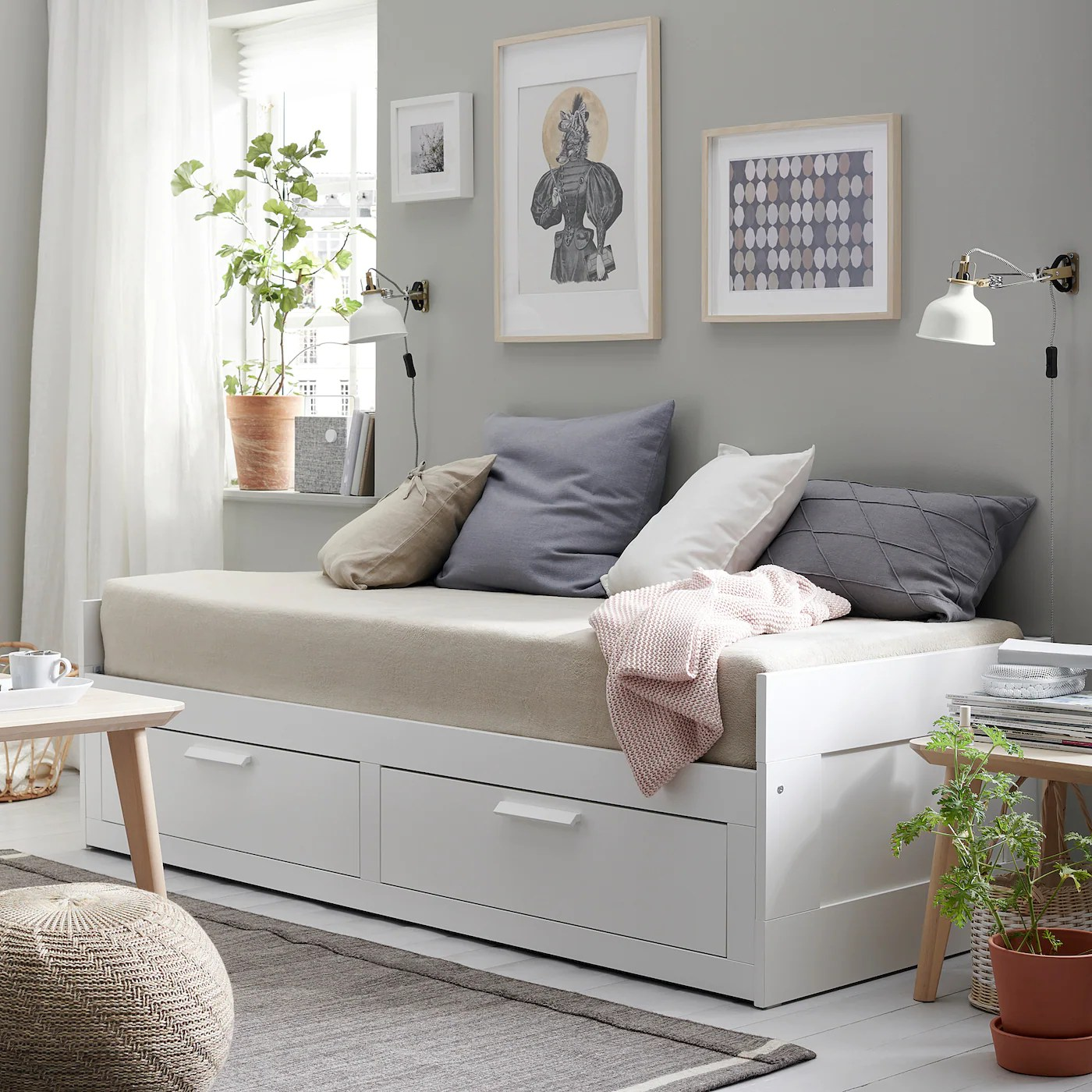 Brimnes Daybed Frame With 2 Drawers White Ikea