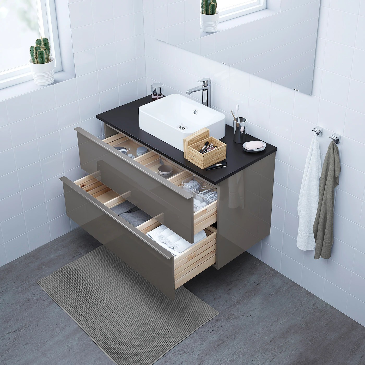 Godmorgon Bathroom Vanity High Gloss Gray Ikea