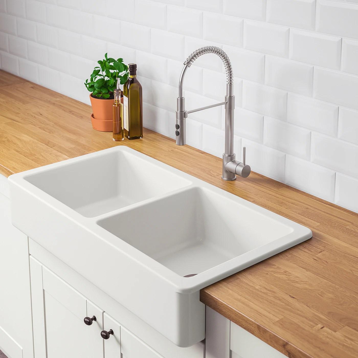 havsen apron front double bowl sink white 37x19 93x48 cm