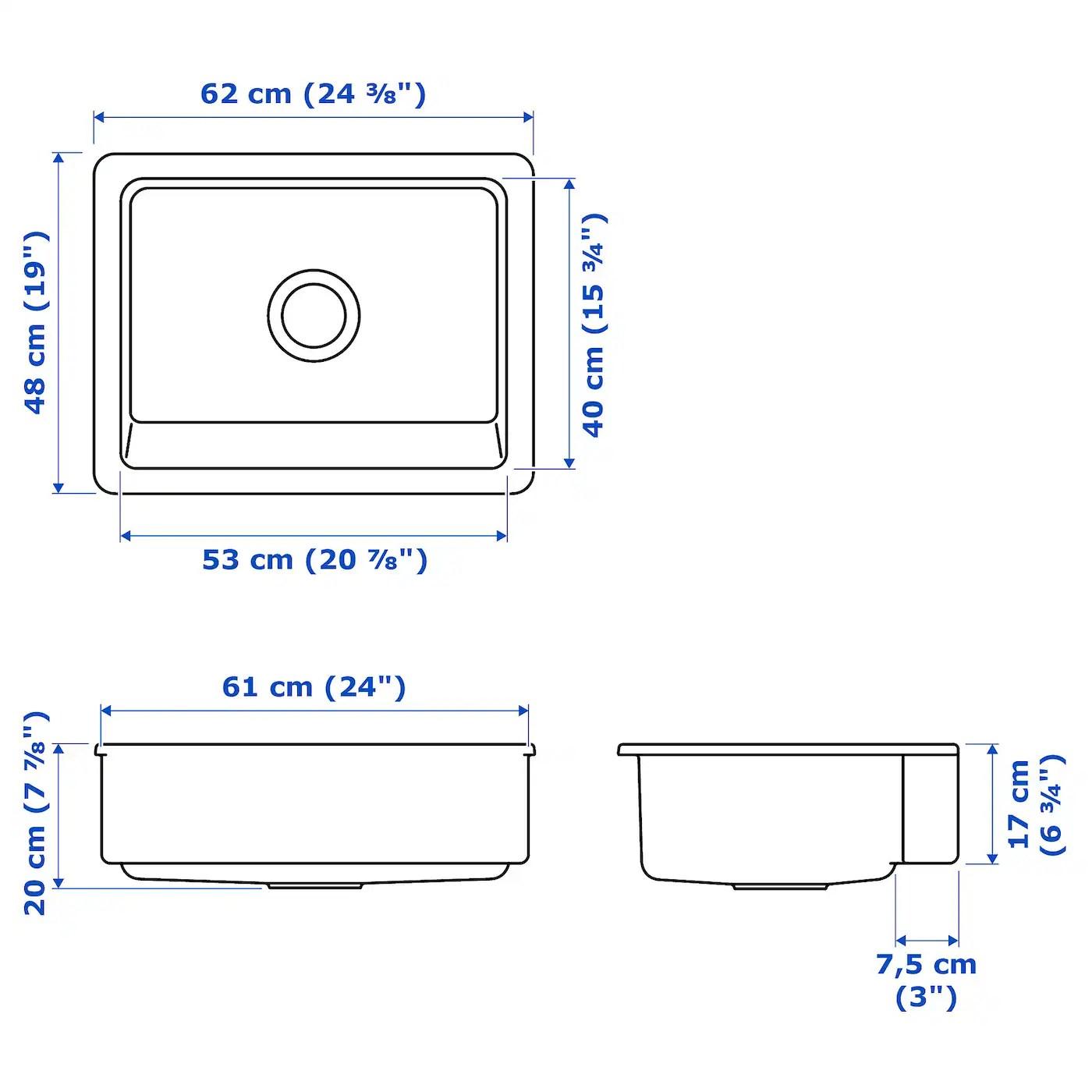 havsen apron front sink white 25x19 63x48 cm