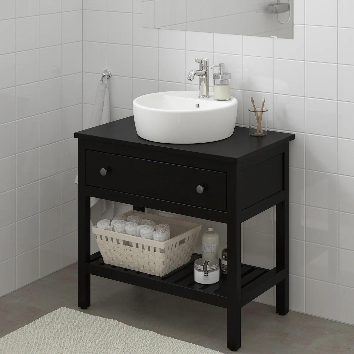 Hemnes Bathroom Vanity 1 Drawer Black Brown Stain Ikea