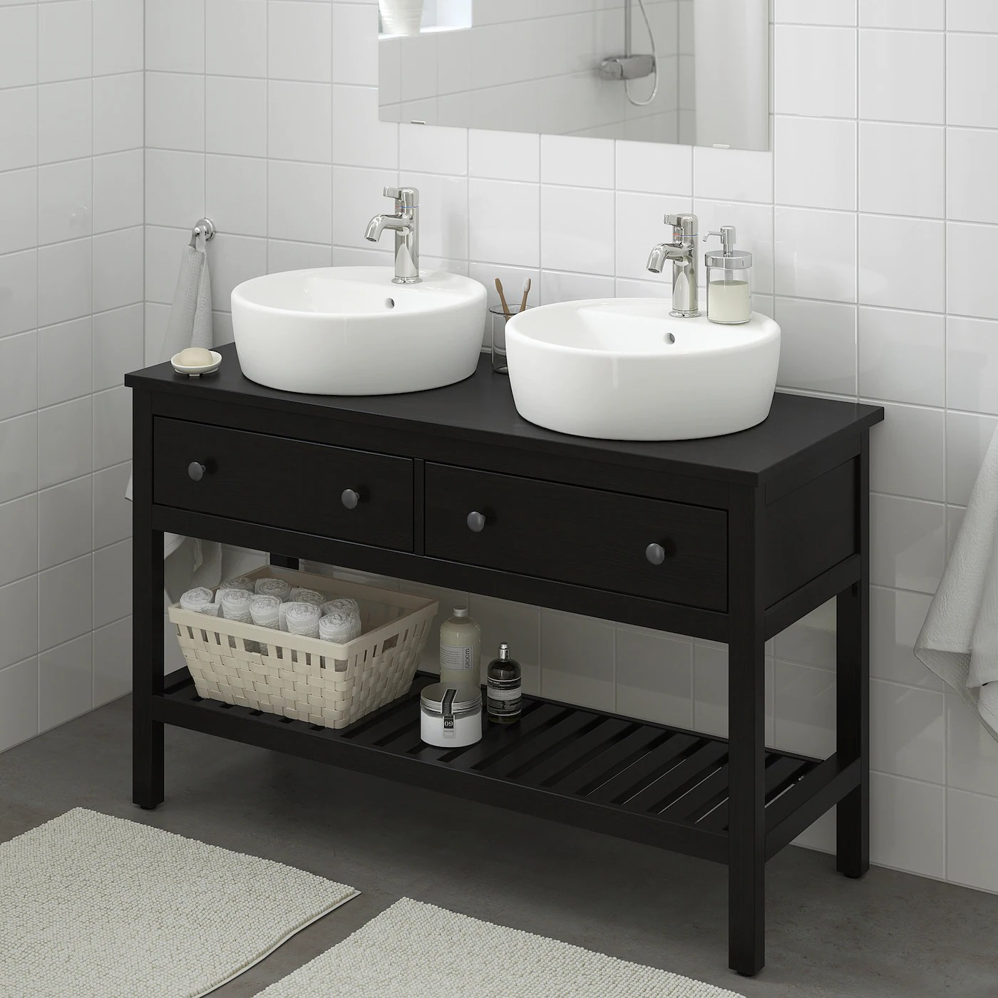 Hemnes Bathroom Vanity 2 Drawers Black Brown Stain Ikea