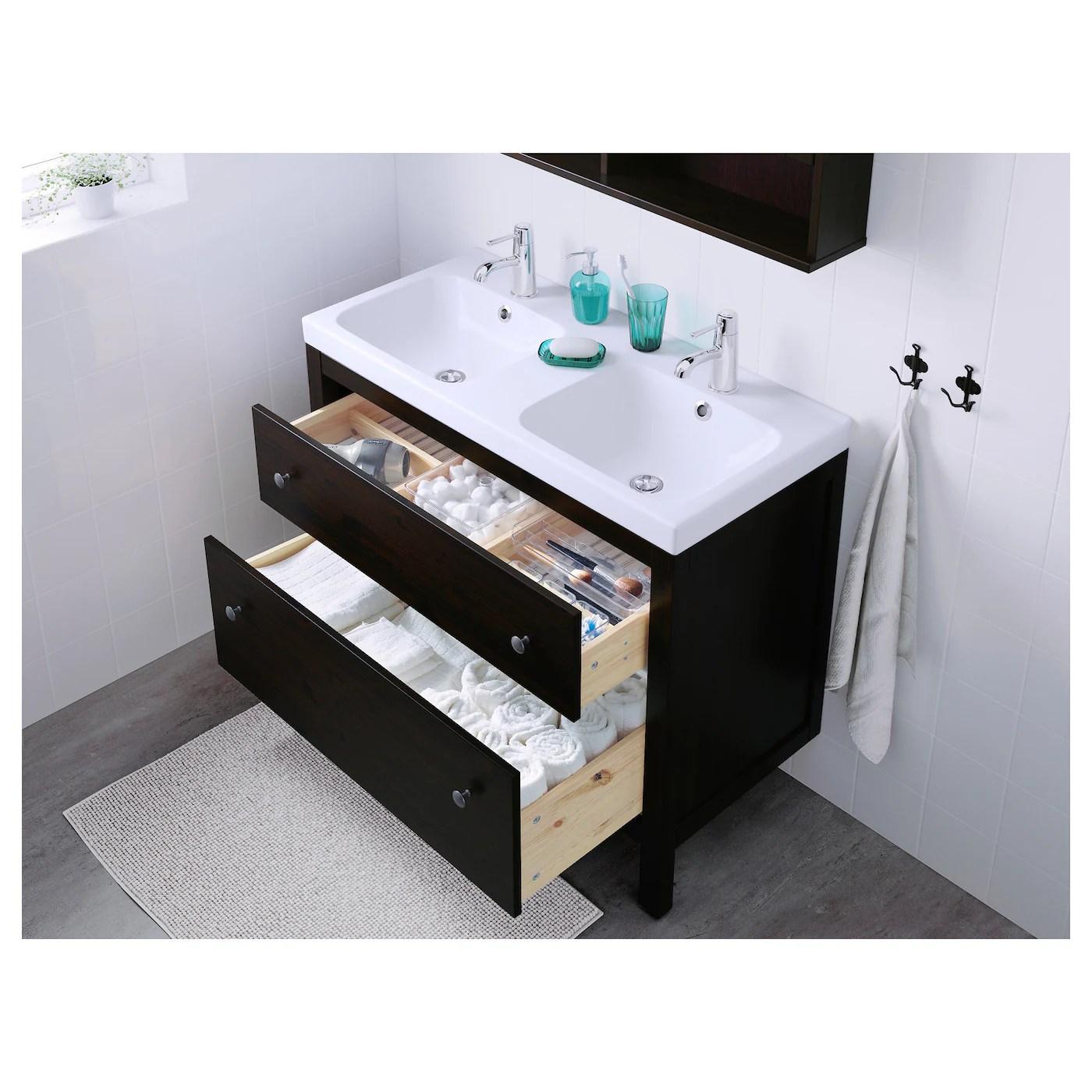 hemnes odensvik bathroom vanity black brown stained runskar faucet 40 1 2x19 1 4x35 103x49x89 cm