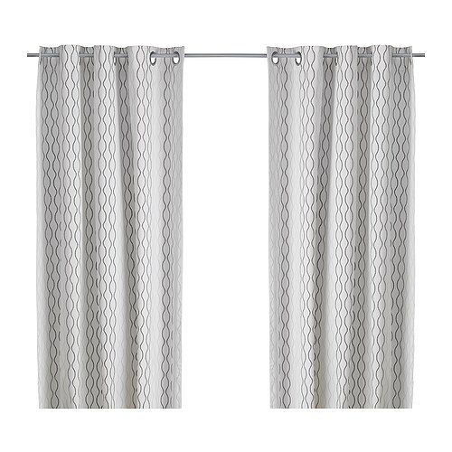 HENNY RAND Curtains 1 Pair White Brown Gray 145x250 Cm IKEA