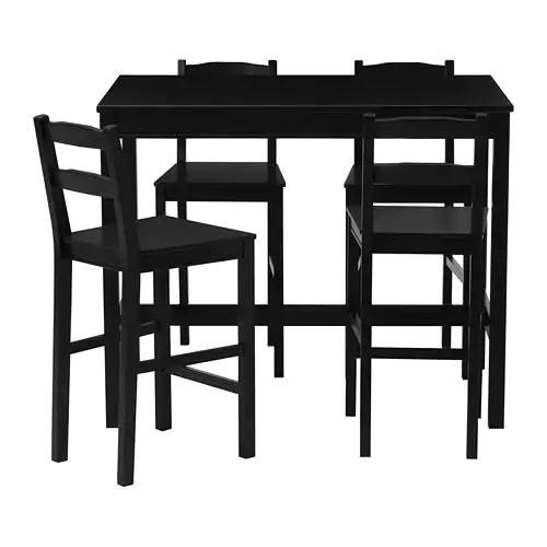 kitchen stools ikea white modern cabinets jokkmokk bar table and 4 black brown