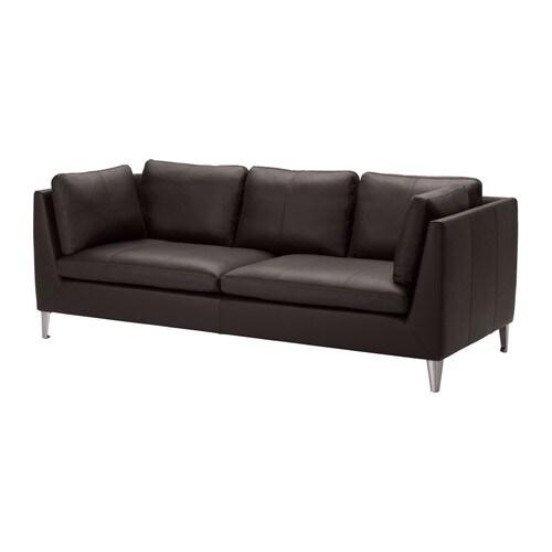 all leather sofa bed spring cushion stockholm seglora dark brown ikea