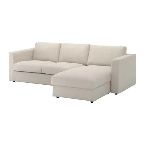 sofa w chaise small room sofas vimle with gunnared beige ikea