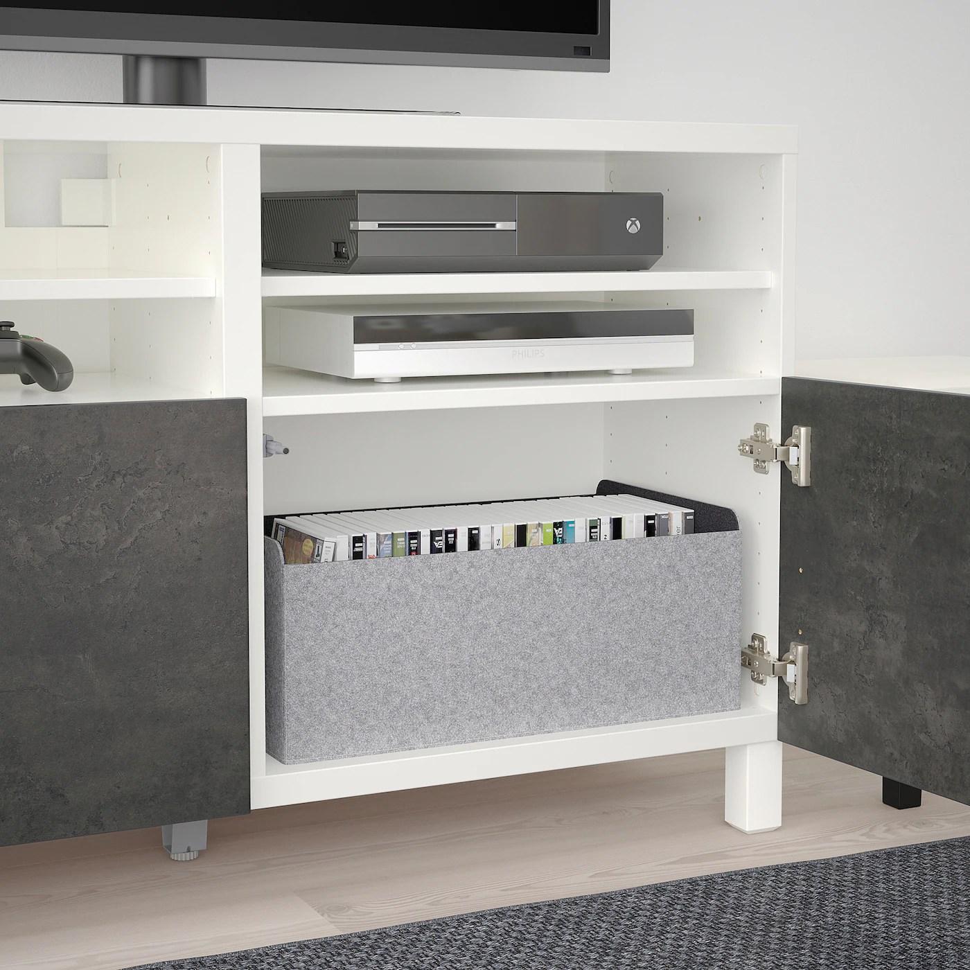 besta meuble tele avec portes blanc kallviken stubbarp gris fonce effet beton 47 1 4x16 1 2x29 1 8 120x42x74 cm