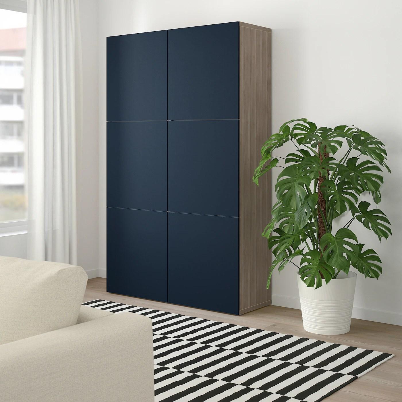 besta rangement a portes effet noyer teinte gris notviken bleu 47 1 4x16 1 2x75 5 8 120x42x192 cm