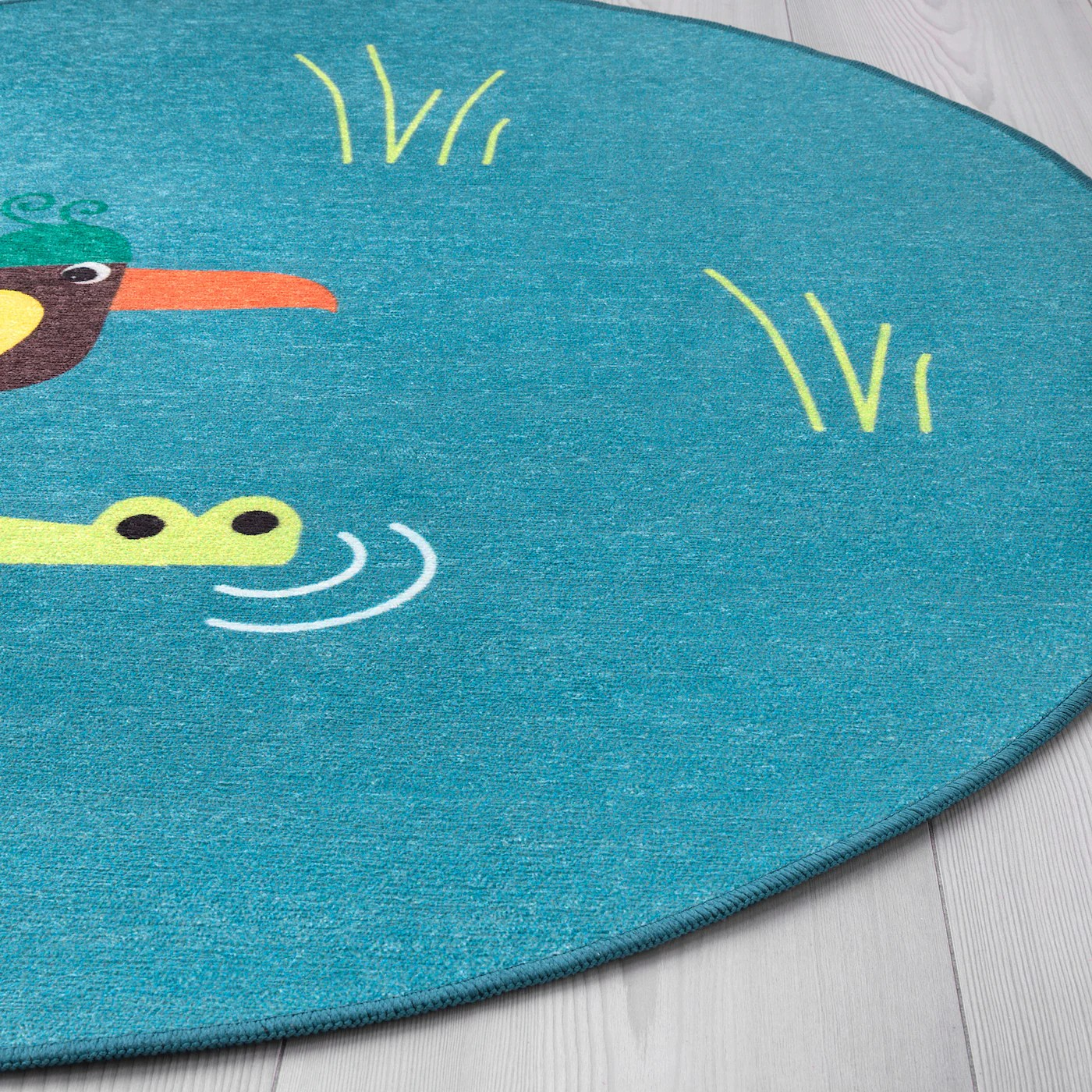 djungelskog tapis tisse plat oiseau bleu 3 3 100 cm